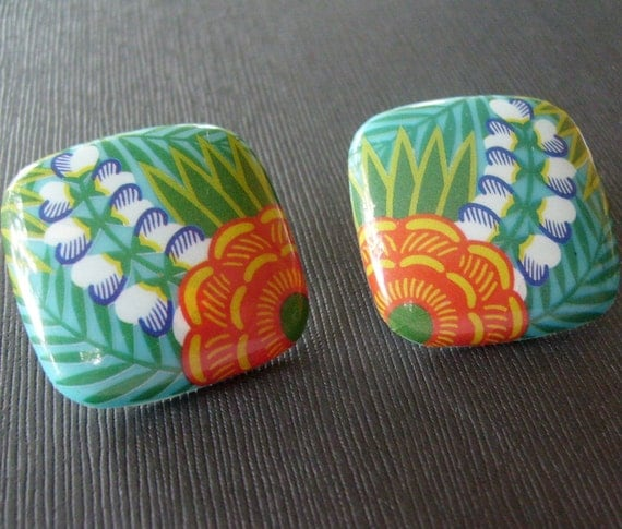 Vintage Tropical Lei Post Earrings