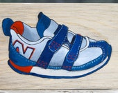 painting of new balance children's shoe red white and blue