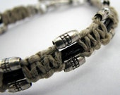 Hemp and Leather Macrame with Thai Silver Beads