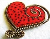Felt and zipper Heart brooch