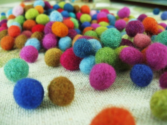 20 grams/ over  150  Eco-friendly Felt beads , 1/4 inch-1/2 inch in size.