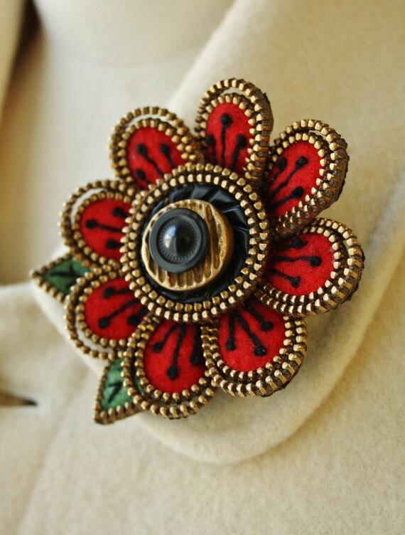 Felt and zipper  flower brooch...red