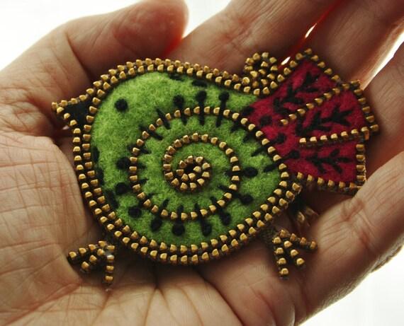 Lime green and magenta felt and zipper  bird brooch.