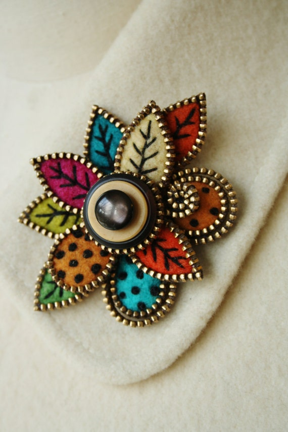 Multi colored felt and zipper free form leaf brooch