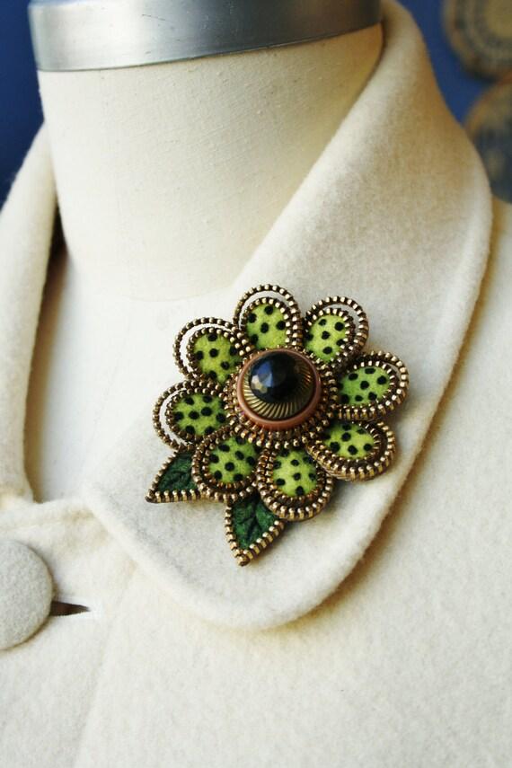 Felt and zipper  flower brooch... lime green