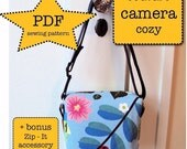 couture camera cozy - DIY PDF Sewing Pattern - camera case and zip pouch - DSLR - point and shoot