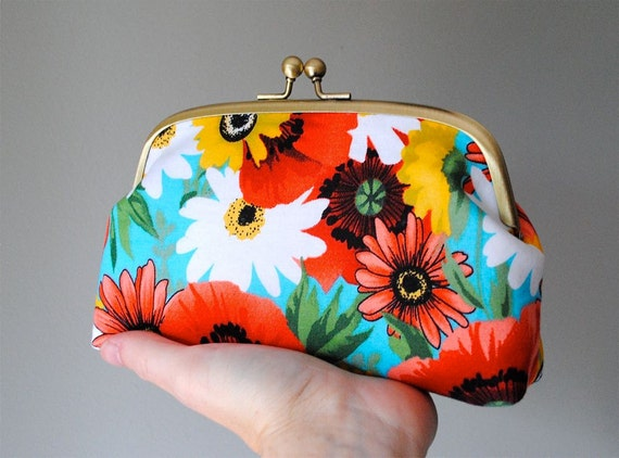 Frame Clutch in Bright Hippie Flower Power - Be Bold Collection - Bronze Frame - OOAK