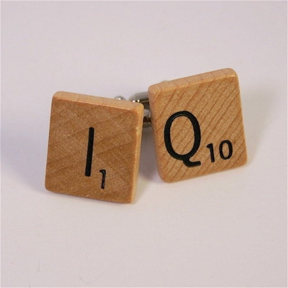 scrabble Cufflinks - Mens Geekery - I Q - for the brainy man