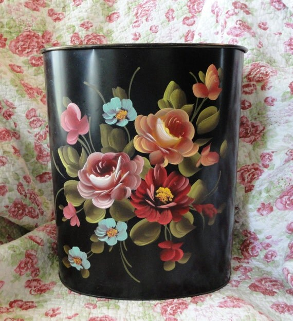 Lovely Hand Painted Roses Vintage Trash Can, Black Background