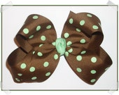 HALF PRICE CLEARANCE SPECIAL Large Milk Chocolate Brown with Mint Green Polka Dots Loopy Style Grosgrain Hair Bow