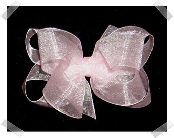 Medium Double Layer Loopy Style Organza Hair Bow in Light Pink