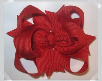 Petite Triple Loop Grosgrain Hair Bow in Solid Red