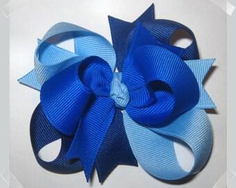 Petite Triple Loop Grosgrain Hair Bow in Shades of Blue