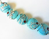 SOUTHWEST meets FAR EAST   5 large turquoise, ivory, black and red spree   A Beaded Gift