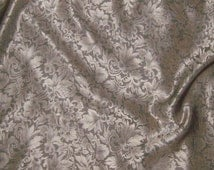 Silk Jacquard Fabric - Beige Leaves Scroll - 1/3 Yard