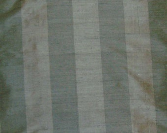 Green STRIPE Silk DUPIONI Fabric