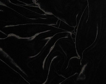 BLACK Silk Velvet Fabric - remnant fat 1/4