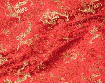 Red and Gold DRAGONS Silk Brocade Fabric - 1 Yard