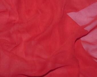 Silk Chiffon Fabric - RED - 1/2 yard