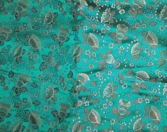 Green Fan Flowers - Silk Brocade Fabric - 1/3 Yard
