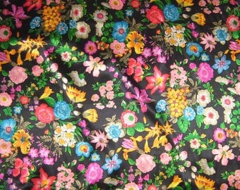 Flower Garden - Silk Charmeuse Fabric - fat 1/4