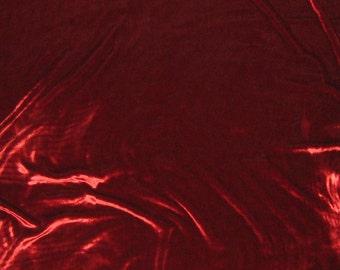 Iridescent Brick Red Silk Velvet Fabric - fat 1/4