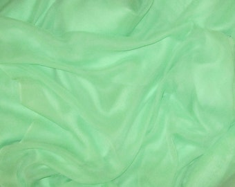 APPLE GREEN Silk Chiffon Fabric - 1 Yard