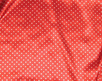 Silk Charmeuse Fabric - Red & White POLKA DOTS - fat 1/4