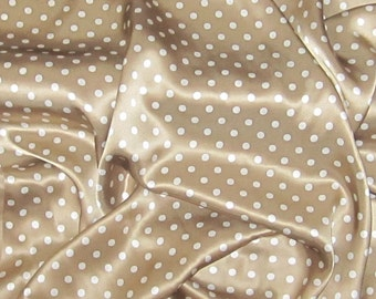 Silk Charmeuse Fabric - Brown & White POLKA DOTS - fat 1/4
