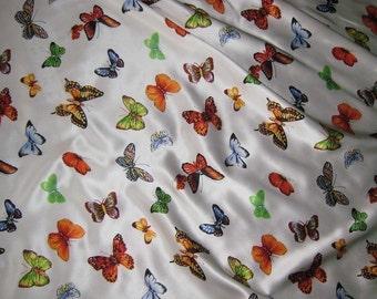 BUTTERFLIES Silk Charmeuse Fabric - fat 1/4