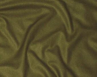 DEEP OLIVE GREEN Raw Silk Noil Fabric 1/2 Yard