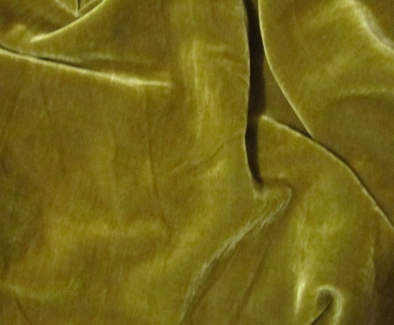Iridescent Antique Gold Silk Velvet Fabric - fat 1/4