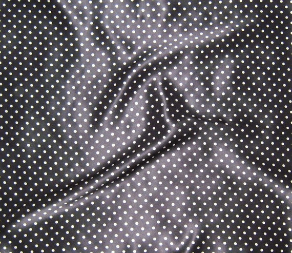 Silk Charmeuse Fabric - Black & White POLKA DOTS - fat 1/4
