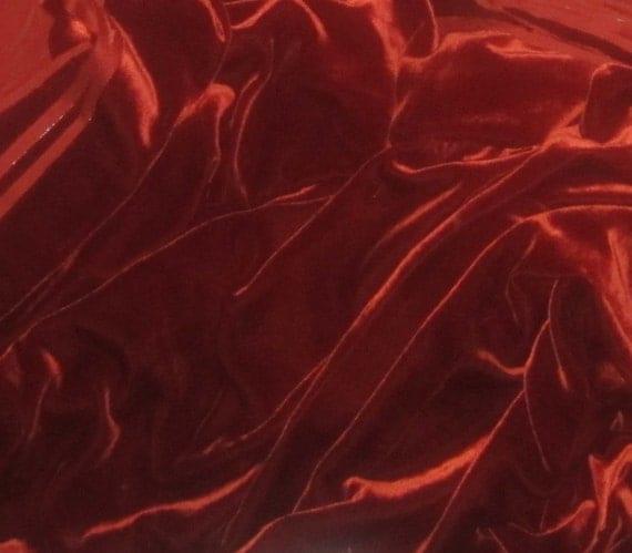 BURNT ORANGE Silk Velvet Fabric - 1 Yard