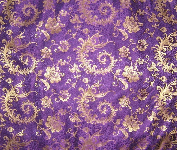 Purple And Gold Feather Floral Silk Brocade Fabric 1 Yard