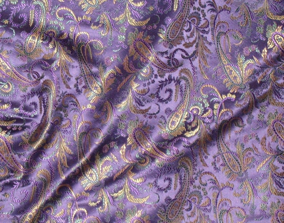 Bright Purple And Gold Paisley Silk Brocade Fabric 1 Yard