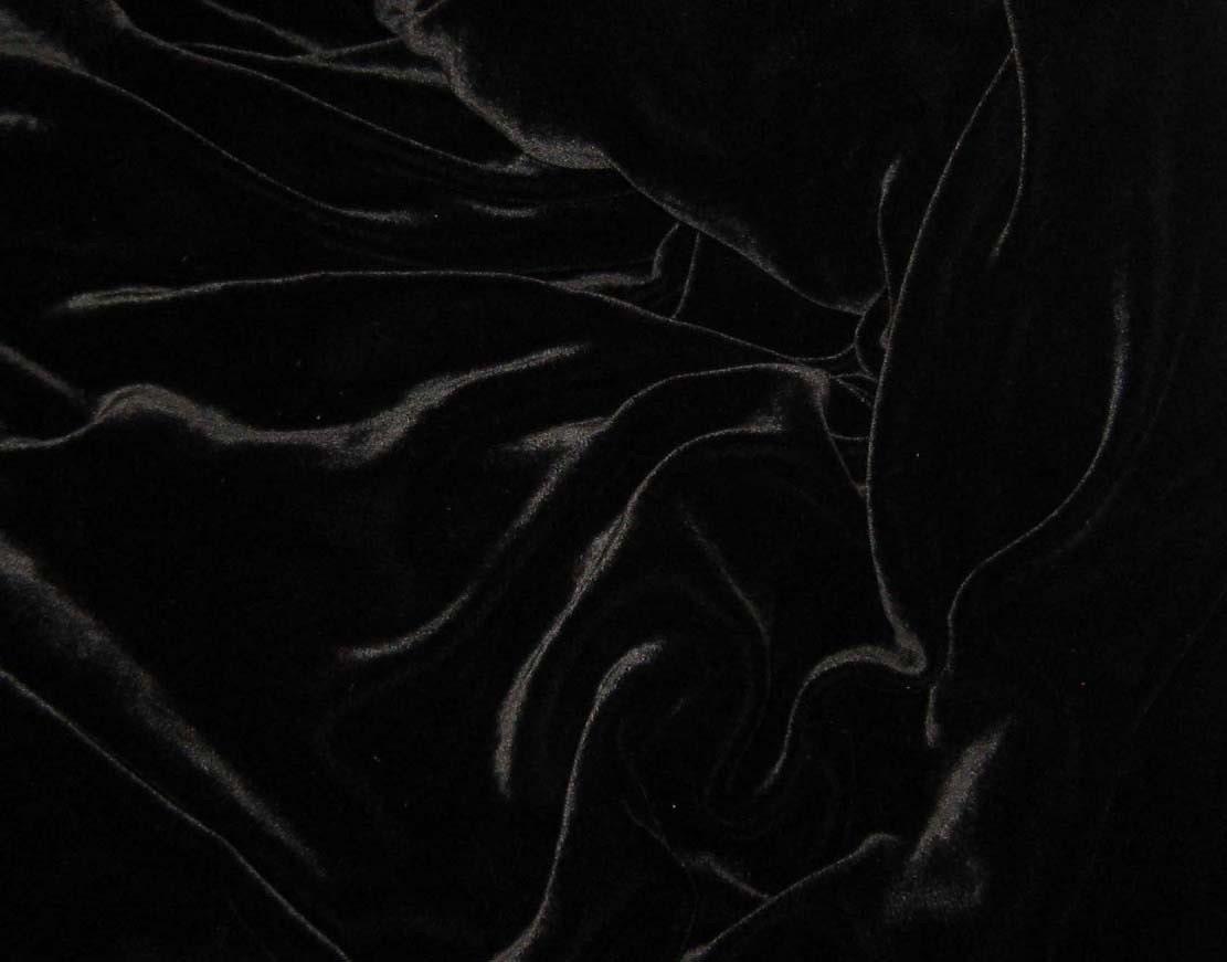 BLACK Silk Velvet Fabric remnant