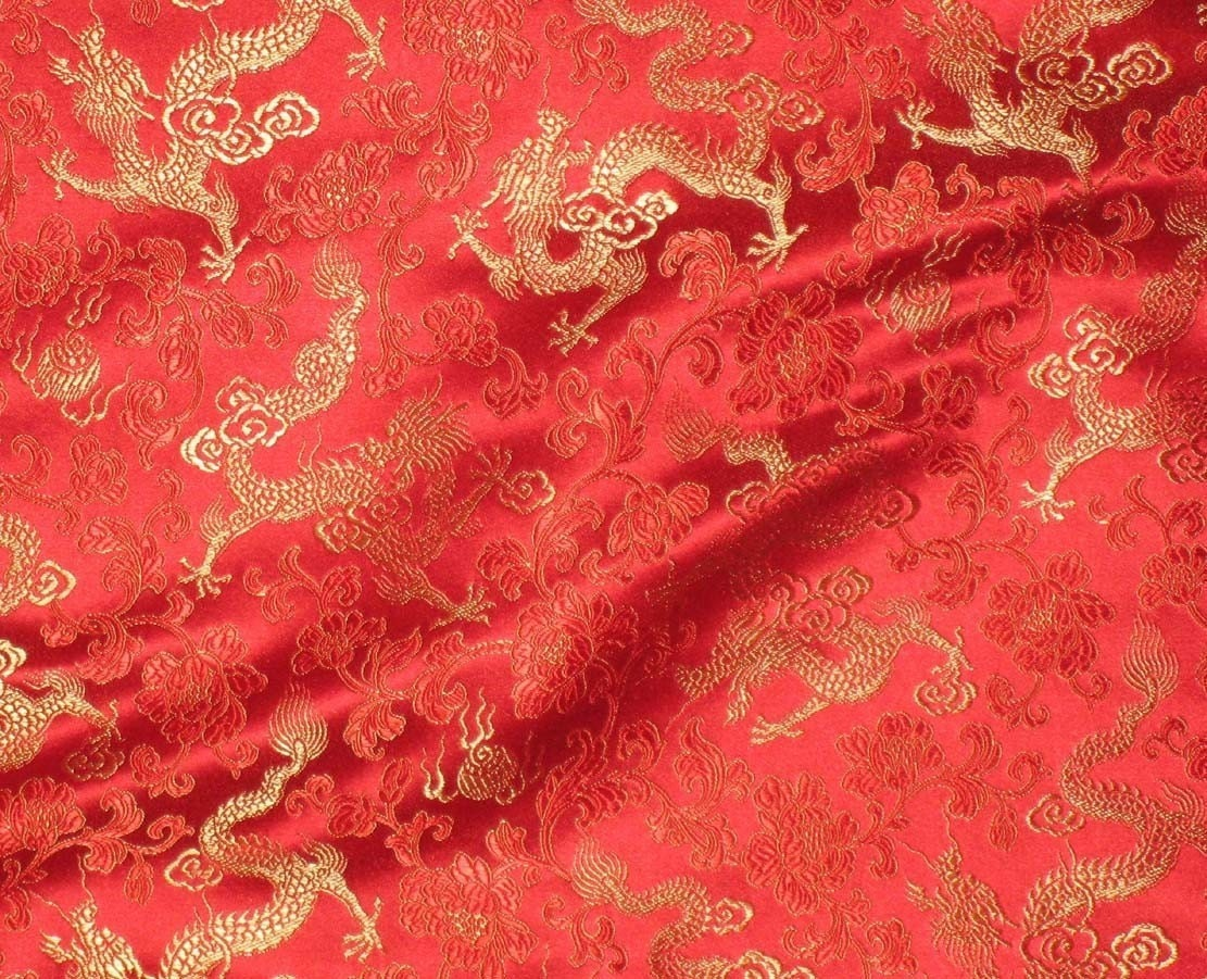 Red and gold dragons silk brocade fabric 1 yard for Red with gold