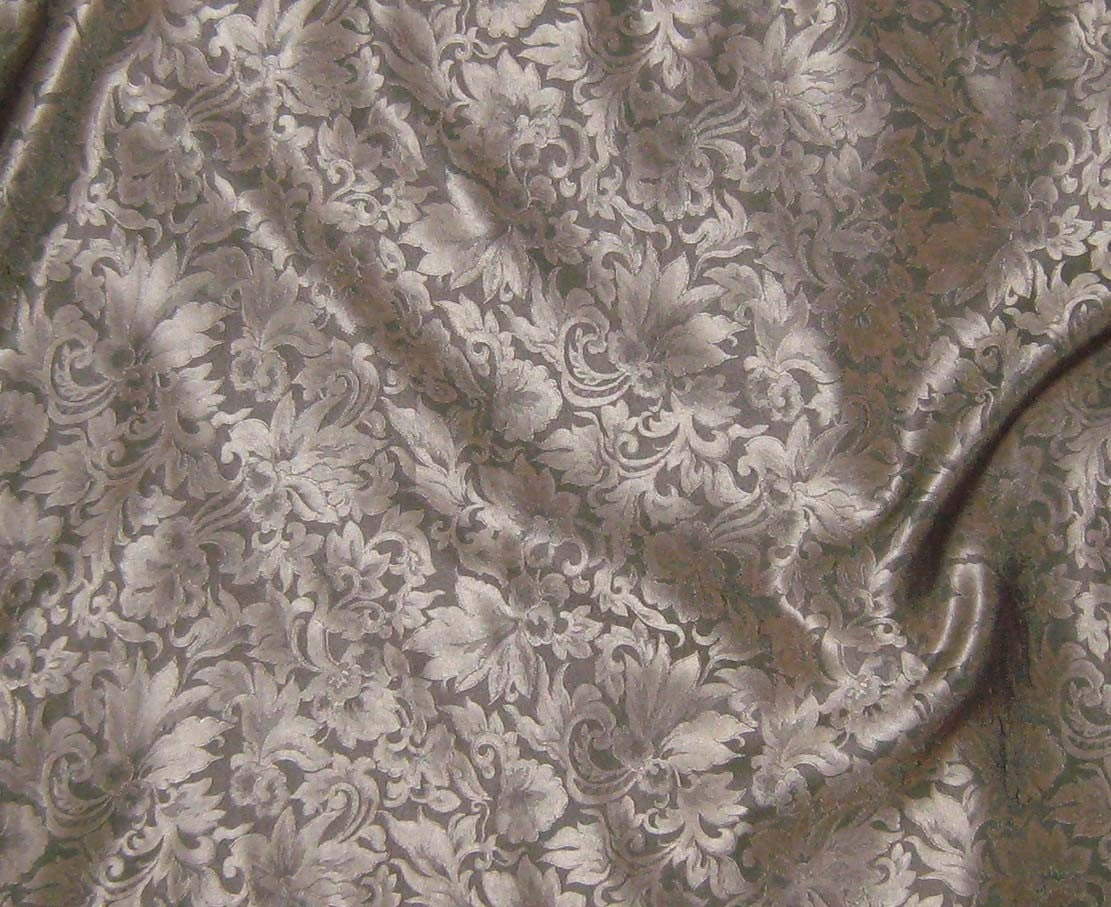 silk jacquard fabric beige leaves scroll 1 3 yard by