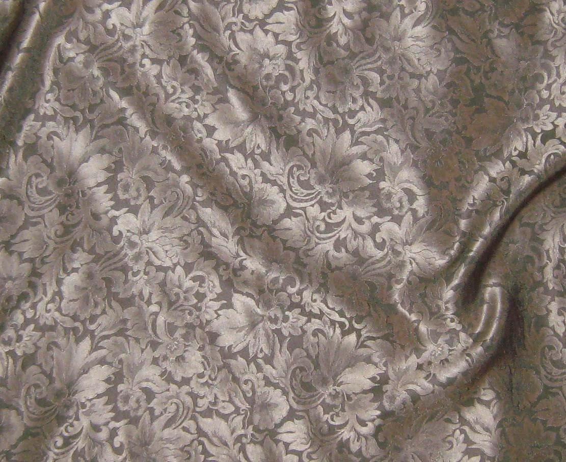 Silk Jacquard Fabric Beige Leaves Scroll 1/3 Yard by silkfabric