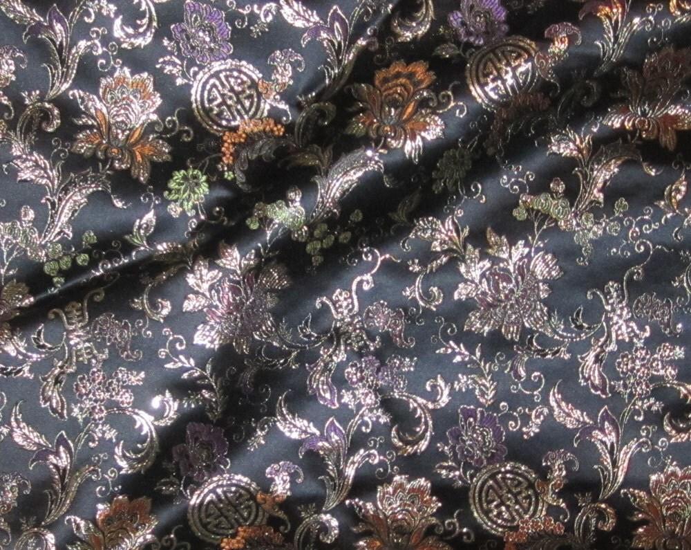 Tinsel medallion floral silk brocade fabric yard