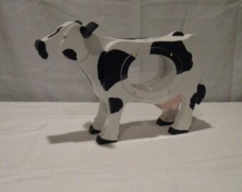 WOOD PIGGY BANK - Cow