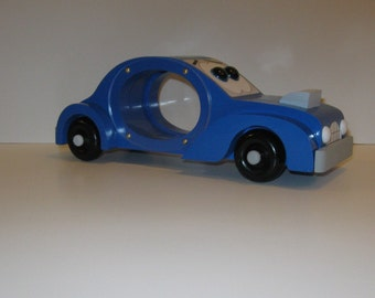 Blue Race Car - Wood Piggy Bank