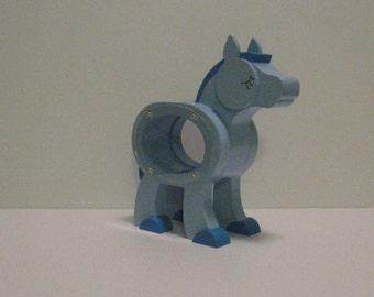 Wood Piggy Bank - Blue Pony