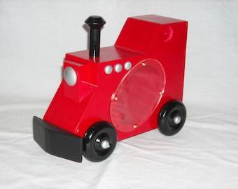 TRAIN PIGGY BANK - wood - red