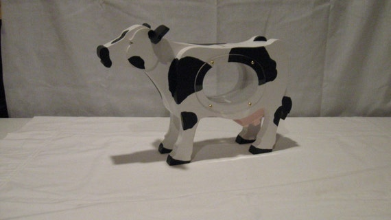 WOOD PIGGY BANK - Cow