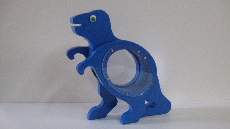 Wood piggy bank blue dinosaur by leewoodworking on etsy - Dinosaur piggy banks ...