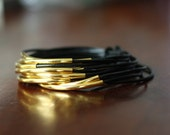 Black Leather Cord Bangles With Gold Plated Tubes