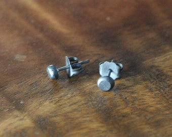 Handmade Blackened Organic Recycled Sterling Silver Oxydized Black Small Studs Post Earrings Ready to Ship