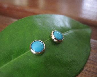 Handmade Sleeping Beauty Turquoise 14kt Yellow Gold Studs Post Earrings 6mm